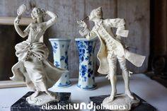 Oh, oh...schon verkauft! Vintage Figuren - shabby chic vintage Skulptur set Die lustige Witwe - ein Designerstück von elisabethUNDjohannes bei DaWanda