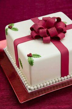 Gorgeous Christmas present cake. Christmas Cake Designs, Christmas Cake Decorations, Christmas Sweets, Holiday Cakes, Christmas Baking, Christmas Cakes, Christmas Holiday, Christmas Birthday Cake, Xmas Cakes