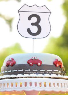 'Route 3′ Red Car 3rd Birthday Party | | Kara's Party IdeasKara's Party Ideas