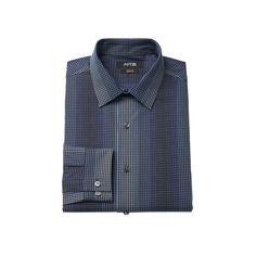 Men's Apt. 9 ® Slim-Fit Plaid Stretch Dress Shirt, Size: 17.5-34/35, Blue