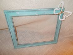 Teal Open Picture Frame With White Speckles by JensHandMadeDecor, $8.00