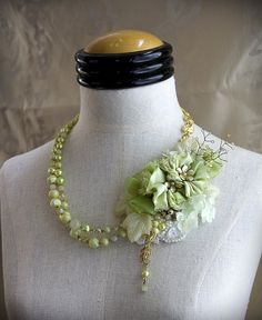 LETITIA Green Gold Collage Mixed Media Statement Necklace