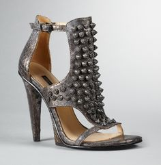 Metallic + crystal encrusted studs..Every girl needs a hot shoe and this is one..