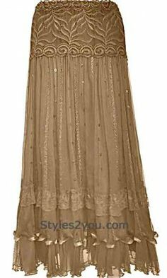 Pretty Angel Clothing Vintage Skirt With Sequins In Brown