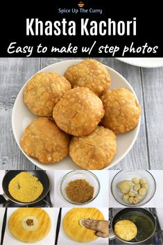 Khasta kachori - Small, crispy, flakey puri stuffed with spicy moong dal mixture. This moong dal kachoris are so delicious on its own. But it tastes even better when you top it with green chutney, tamarind date chutney, onion, tomato and sev. Yes, make khasta kachori chaat and it's too good. #kachori #indianfood