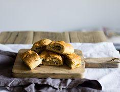 Traditional Polish sauerkraut pasties with champignions. Eastern European Recipes, Sauerkraut, Vegan Snacks, Winter Food, Recipe Box, Burgers, Vegan Vegetarian, Food And Drink, Wraps
