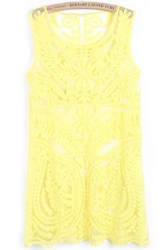 Yellow Sleeveless Floral Crochet Lace Dress