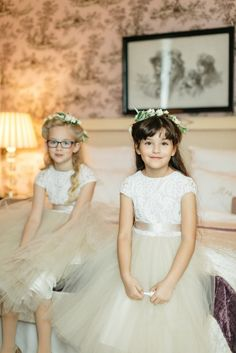 Tony Gigov Photography, Flower Girl Dress Champagne Ivory Tull Alencon Lace, Satin Sash, Back Buttons, Anagrassia, Custom Made, Couture, Anagrassia, leotard