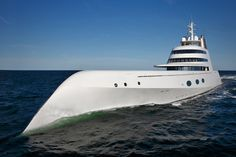 """Length : 390 feet   Top speed : 23 knots   Total power: 12,070 hp     The """"A"""" (ex Sigma) was constructed by Blohm and Voss at the HDW shipyard in Kiel, Germany,   It is thought to have cost somewhere around $300 million and boasts nearly 24,000 square feet of livable space. Interior features are far more stunning than its unusual exterior. It's filled with such luxuries as; $40,000 bath knobs, a room covered in white sting-ray hides, and an impressive master suite."""
