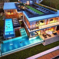 Villa with pool Dream Home Design, Modern House Design, Luxury Homes Dream Houses, Modern Mansion, Luxury Pools, Cute House, Dream House Exterior, Villa Design, Modern Architecture House