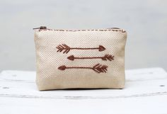 FSU Tribal Arrows makeup bag  Rustic Embroidery handmade by NIARMENA, $14.00 (40% off with coupon code GIVEME40)