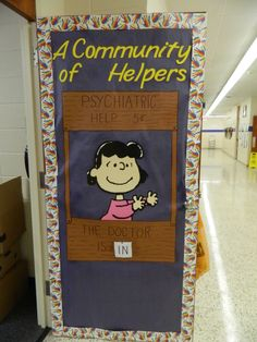"""""""A Community of Leaders"""" The Charlie Brown themed door for the Counselors office."""