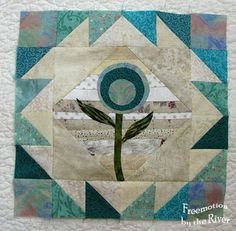 Teal Flower block at Freemotion by the River - cute block for spring table runner or baby quilt. Tutorial on blog