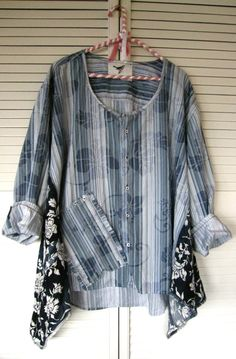 idea for adding to side of top  dress top indigo blue tattered Tunic  French Bohemian Shabby chic cowgirl
