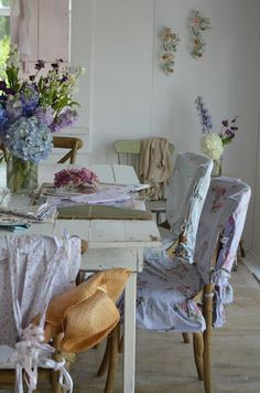The morning room is all in pretty lilac chair covers that enhance shabby chic style......