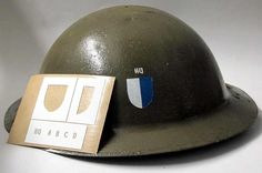 This stencil will allow you to paint three different battalions and 5 companies within each battalion using one stencil. The 80th Inf Div usually wore the Battalion insignia to the front of the helmet and the Divisional marking to the rear. The picture to the right shows the HQ company of the 313'd Machine Gun Battalion.