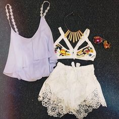 Lace shorts • Summer outfit • Tank top • Cute top • Bralette • Designed Bralette •