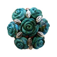 Huge Impressive Sterling Silver & Turquoise Floral Ring | From a unique collection of vintage cluster rings at https://www.1stdibs.com/jewelry/rings/cluster-rings/