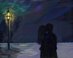 "Couple Art Print Couple Painting Art Print Couple Wall Art Couples Romantic Art Wall Art  ""SILHOUETTED LOVING KISS"" Leslie Allen Fine Art by LeslieAllenFineArt on Etsy"