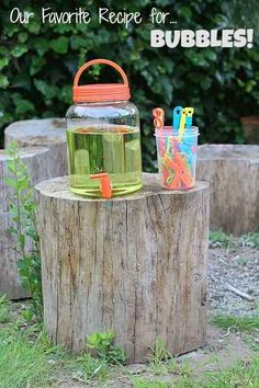 Set up a homemade bubble station so your kids can play without needing your help every five minutes.