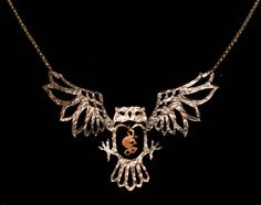 Custom Owl With Mouse Pendant Necklace. 75.00, via Etsy.