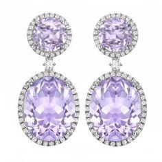Lavender Amethyst and Diamond Drop Earrings  (Kiki McDonough)
