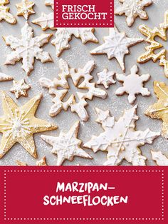 Marzipan-Schneeflocken Marzipan, Wonderful Time, Christmas Cookies, Ginger Beard, Chocolate Candies, Snow Flakes, Treats, Weihnachten, Backen