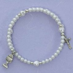 """Girls First Communion Jewelry Gift .925 Sterling Silver Chalice Crucifix Charm White Faux Pearl Bead 6 1/2"""" Ful Wrap Rosary Bracelet Needzo Religious Gifts. $48.63. Faux Pearl / .925 Sterling Silver. 6 1/2"""" Full Wrap Bracelet. Comes Gift Boxed. Great First Communion Gift"""