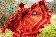 ♥♥♥ These colors!!! Recycled Sweater Coat PATTERN by Katwise -Red Orange Fire Phoenix. $9.00, via Etsy.