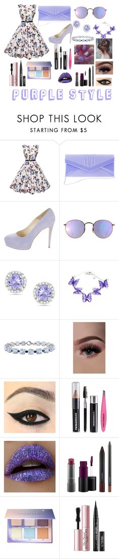 """purple style"" by malak-er ❤ liked on Polyvore featuring Brian Atwood, Ray-Ban, Ice, Miadora, Tweezerman, Lime Crime, MAC Cosmetics, Anastasia Beverly Hills and Too Faced Cosmetics"