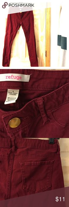 Cranberry colored pants From Charlotte Russe, plain cranberry colored skinny jeans - perfect for fall! refuge Jeans Skinny
