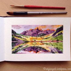 Today's #DrawRiotDaily prompt: alpine. Decided to paint Colorado's gorgeous Maroon Bells.   Mission Gold, QoR, and Winsor Newton watercolors in Strathmore watercolor journal.   #doodleeveryday #dailydoodle2017 #odysseyartdoodles #odysseyartart #odysseyartwatercolors #illustration #art #sketch #sketchbook #doodles #watercolor #strathmore #missiongold #qor #winsornewton #worldwatercolorgroup #mountains #strathmoreart #drawriot #colorado #maroonbells