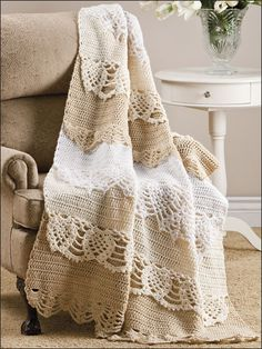 Crochet - Afghan & Throw Patterns - Lace, Filet & Pineapple Patterns - Pineapple Play Throw