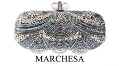 The bugle beads on this wave-patterned embroidered oval box clutch have a delicate Art Nouveau sensibility. Handmade of the finest quality materials like Swarovski crystals, Marchesa bags are a red carpet staple. Beaded Clutch, Beaded Purses, Beaded Bags, Bugle Beads, Oui Oui, Turquoise, Beautiful Bags, Clutch Purse, Evening Bags