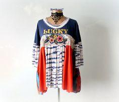 Plus Size Top Babydoll Shirt Bohemian Chic Tunic Shabby Clothes Country Romantic Plus Size Women's Draped Swing Shirt Eco Wear XL 1X 'TESSA'