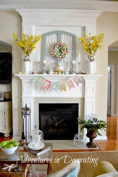 & Easter Home Decor Ideas Learn how to balance an Easter Mantel. More Spring & Easter Home Decor Ideas on Frugal Coupon Living.Learn how to balance an Easter Mantel. More Spring & Easter Home Decor Ideas on Frugal Coupon Living. Diy Osterschmuck, Easy Diy, Simple Diy, Diy Easter Decorations, Spring Home Decor, Summer Mantle Decor, Easter Holidays, Fireplace Mantels, Fireplaces