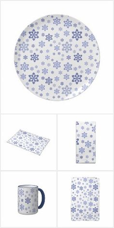 White With Blue Snowflakes Kitchen Collection
