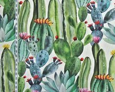 Southwest cactus fabric desert watercolor from Brick House Fabric: Novelty Fabric