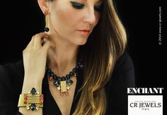 "Cr jewels // women's fashion Jewelry.  Advertising ""ENCHANT"" collection //  #fashion #CRJewelsitaly #jewels #jewelry #bijoux #jewellery #enchantcollection #magicnecklace #cristinaraviglione #SwarovskiElements #orange #blue"