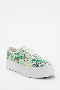 BDG Floral Canvas Platform-Sneaker from Urban Outfitters! I am buying these today! Flatform Sneakers, Plimsolls, Chunky Sneakers, Slip On Sneakers, Baskets, Girly, Lace Up Heels, Platform Shoes, Sneakers Fashion