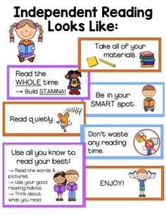Independent/Read to Self Anchor Chart. Everything you need to create a helpful anchor chart your students can use to help remember and learn the expectations for independent reading. 3rd Grade Reading, Guided Reading, Reading Lessons, Partner Reading, Kindergarten Anchor Charts, Read To Self, Reading Centers, Reading Themes, Reading Levels