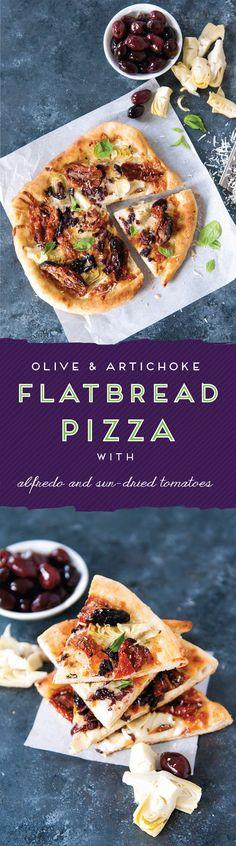 Oh so perfect dinner idea! // Cheesy Olive & Artichoke Flatbread with Sun-Dried Tomatoes Pizza Recipes, Appetizer Recipes, Crockpot Recipes, Dinner Recipes, Cooking Recipes, Healthy Recipes, Easy Recipes, Appetizers, Flatbread Pizza