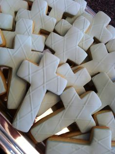 Blue fondant cross cookies