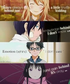 Your Lie In April Noragami Anime Quotes Sad Anime Quotes, Manga Quotes, Anime People, Anime Guys, Mood Quotes, True Quotes, Noragami Anime, April Quotes, Your Lie In April