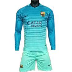 Tercera Equipacion Camiseta Barcelona Manga Larga 2016-2017 14f25468be445