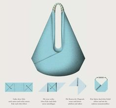 Un patron : 2 sacs en tissu d'ameublement très simples - - Le sac origami Origami bag Origami and Bag Origami bag - site in German. Origami-Bag: in 30 Minuti it's ready to go Tolt Folded Bag with Veronika Triangle Bag, Origami Bag, Origami Folding, Diy Origami, Useful Origami, Fabric Bags, Grab Bags, Crochet Bags, Handmade Bags