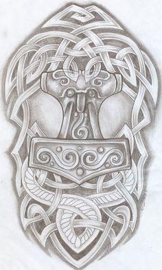 Celtic Design Thor Hammer Tat2 by 2Face-Tattoo.deviantart.com on @deviantART: