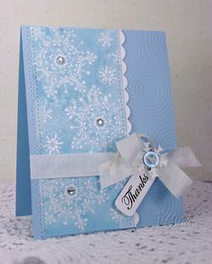 Shimmery Snowflakes by Nerina's Cards- embossed and shimmer mist