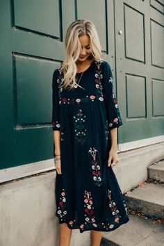 Embroidered Midi Dress for Holidays | ROOLEE #dressesforwomen