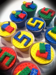 Lego Cupcakes - Inspiration #1, but Lego people usually have yellow hands to match their heads, not black